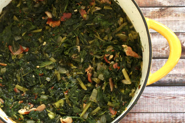 kale and mustard greens with bacon