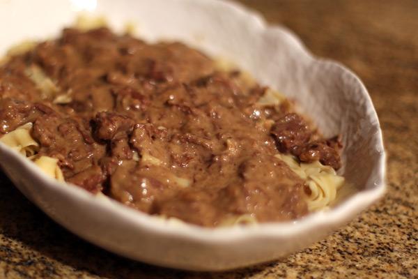 beef stroganoff and noodles