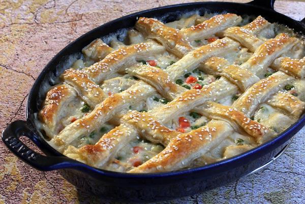 chicken pot pie with puff pastry lattice crust