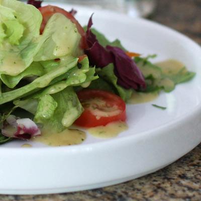 dressing on salad