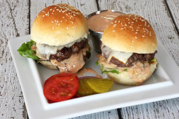 hamburgers with sauce